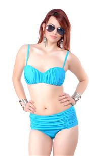 Straplez, Hazır Dikme Kaplı, Drapeli Bikini Takım